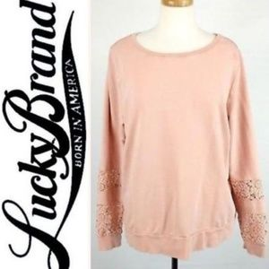 Lucky Brand Lucky Lotus Sweatshirt Lace Trim XL